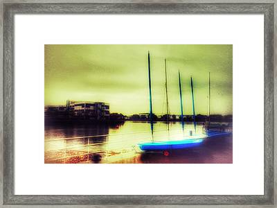 Framed Print featuring the photograph Salford Quays Boats Waiting by Isabella F Abbie Shores FRSA