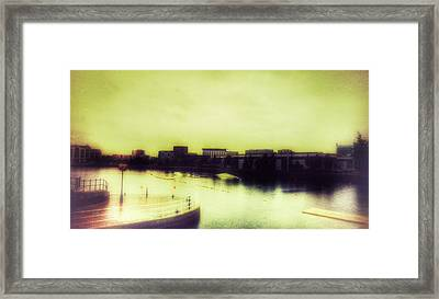 Framed Print featuring the photograph Salford Quays Promenade by Isabella F Abbie Shores FRSA
