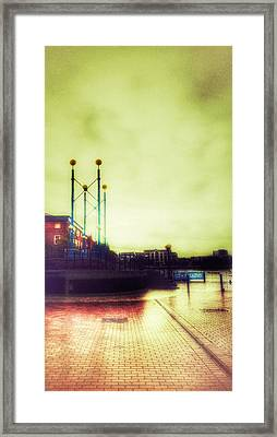 Framed Print featuring the photograph Salford Quays Walkway by Isabella F Abbie Shores FRSA