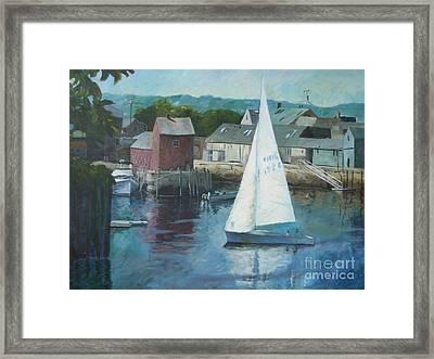 Saling In Rockport Ma Framed Print