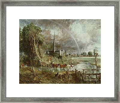 Salisbury Cathedral From The Meadows Framed Print by John Constable