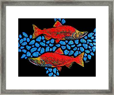 Framed Print featuring the painting Salmon by Debbie Chamberlin