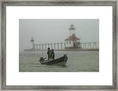 Salmon Fishermen In The Fog By The St. Joseph Lighthouse Framed Print