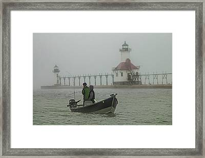 Salmon Fishermen In The Fog By The St. Joseph Lighthouse Framed Print by Randall Nyhof