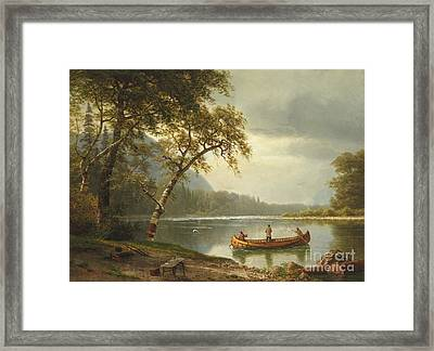 Salmon Fishing On The Caspapediac River Framed Print by Albert Bierstadt