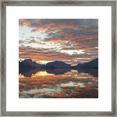 Framed Print featuring the digital art Salmon Lake Sunset by Mark Greenberg