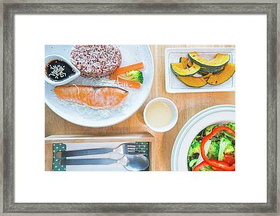 Salmon Salad With Bread And Bacon, Slim, Fit, Clean And Healthy Food Framed Print by Anek Suwannaphoom