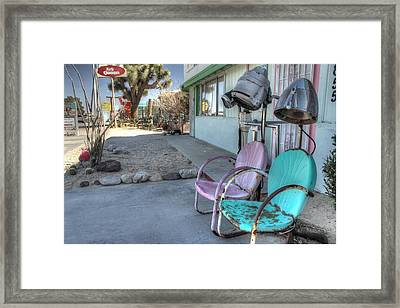 Salon Hair Parlor Beauty Parlor Hair Salon Hair Dryer Midcentury Aqua Pink Lawn Chair  Framed Print by Jane Linders