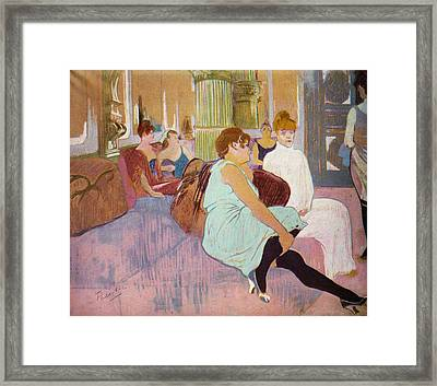 Salon In The Rue Des Moulins  Framed Print by Toulouse Lautrec