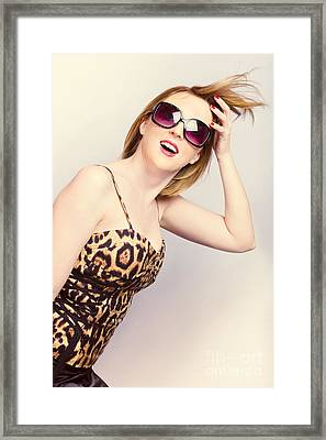 Salon Woman With Beauty Hair And Red Manicure Framed Print by Jorgo Photography - Wall Art Gallery