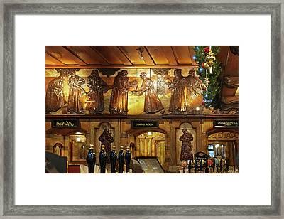 Saloon Bar At Christmas - Black Friar Pub London Framed Print by Gill Billington