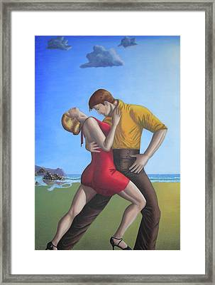 Salsa Dancing Portrait Painting Art   Framed Print by Luigi Carlo
