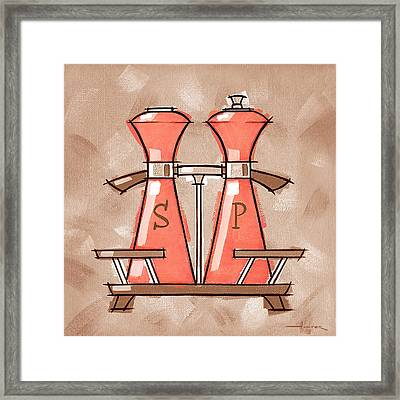 Salt And Pepper Coral And Tan Framed Print by Larry Hunter