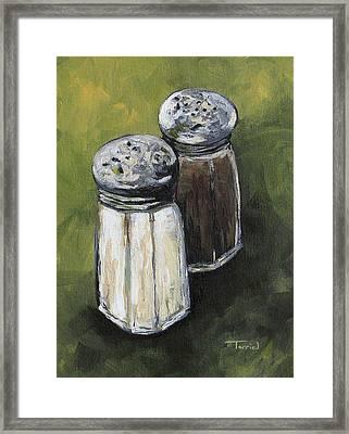 Salt And Pepper On Green Framed Print by Torrie Smiley
