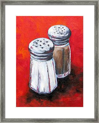 Salt And Pepper On Red Framed Print by Torrie Smiley