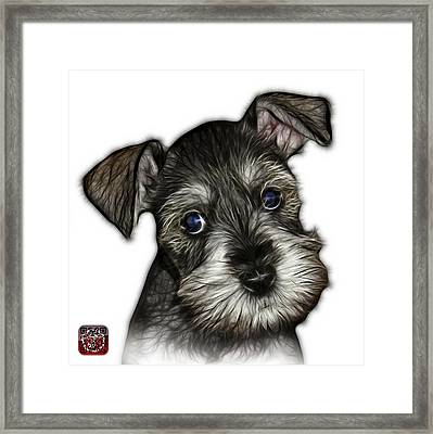 Framed Print featuring the digital art Salt And Pepper Schnauzer Puppy 7206 Fs by James Ahn