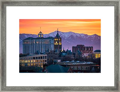 Salt Lake City Hall At Sunset Framed Print