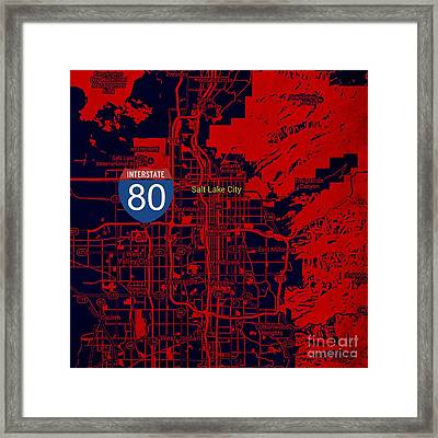 Salt Lake City Map, Nterstate 80 Framed Print