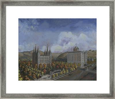 Salt Lake City Temple Square Nineteen Twelve Right Panel Framed Print