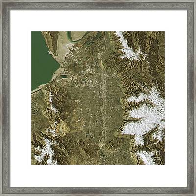 Salt Lake City Topographic Map Natural Color Top View Framed Print by Frank Ramspott
