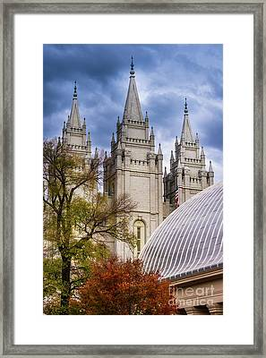 Salt Lake Lds Temple And Tabernacle - Utah Framed Print by Gary Whitton