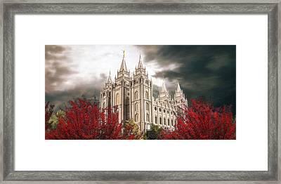 Salt Lake Temple - A Light In The Storm Framed Print