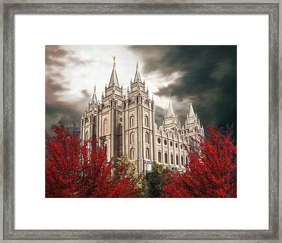 Salt Lake Temple - A Light In The Storm - Cropped Framed Print
