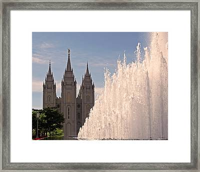 Salt Lake Temple And Fountain Framed Print by Rona Black