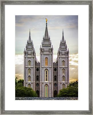 Salt Lake Temple At Sunset Framed Print