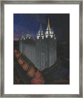 Salt Lake Temple Christmas Framed Print by Jeff Brimley