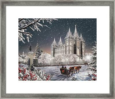 Salt Lake Temple - Old Time Christmas Framed Print