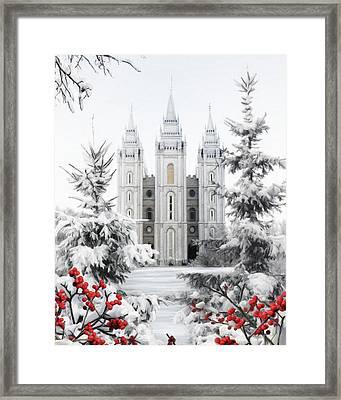 Salt Lake Temple - Winter Wonderland Framed Print