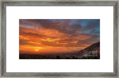 Framed Print featuring the photograph Salt Lake Valley Sunset by Spencer Baugh