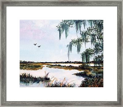 Salt Marsh With Live Oak Framed Print by Carol Sprovtsoff