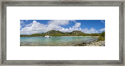 Framed Print featuring the photograph Salt Pond Bay Panoramic by Adam Romanowicz