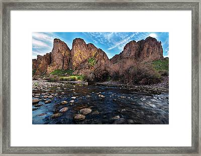 Framed Print featuring the photograph Salt River And The Goldfield Mountains by Dave Dilli