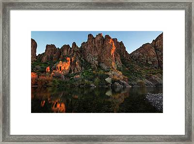 Framed Print featuring the photograph Salt River Cliff Colors by Dave Dilli