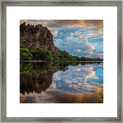 Framed Print featuring the photograph Salt River Sunset Reflections by Dave Dilli