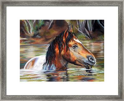 Framed Print featuring the pastel Salt River Tango by Karen Kennedy Chatham