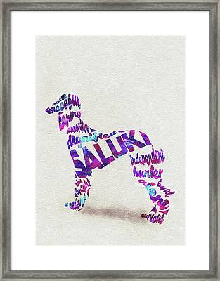 Framed Print featuring the painting Saluki Dog Watercolor Painting / Typographic Art by Inspirowl Design