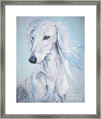 Saluki White Beauty Framed Print by Lee Ann Shepard