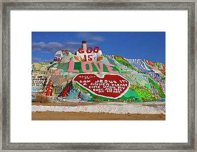 Framed Print featuring the photograph Salvation Mountain by Matthew Bamberg