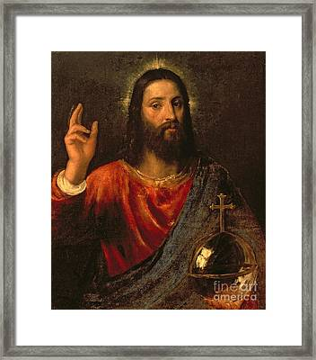 Salvator Mundi, Saviour Of The World Framed Print