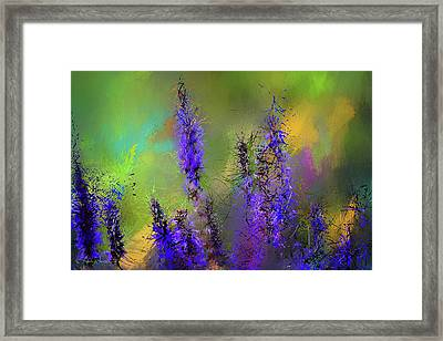 Salvia May Night Art -purple Modern Abstract Art Framed Print by Lourry Legarde
