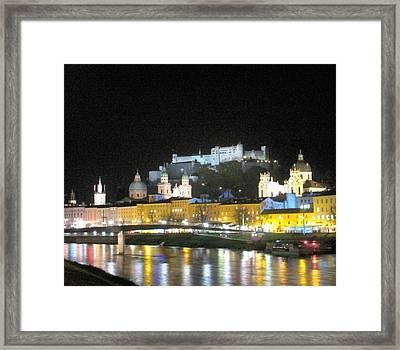 Salzburg At Night Framed Print