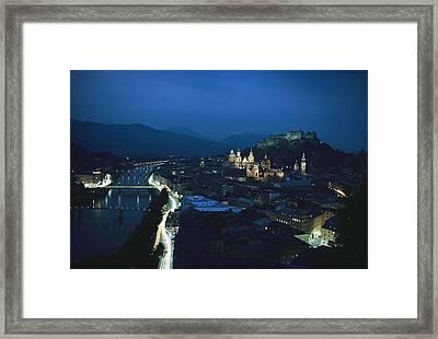 Salzburg, Austria, Night View Framed Print by George F. Mobley