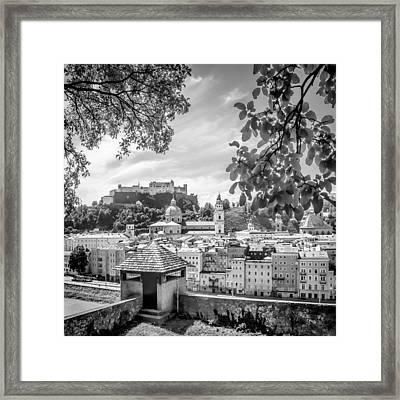 Salzburg Gorgeous Old Town With Citywall Monochrome Framed Print by Melanie Viola
