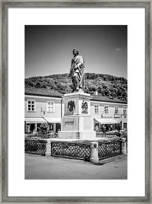 Salzburg Mozart Square Monochrome Framed Print by Melanie Viola