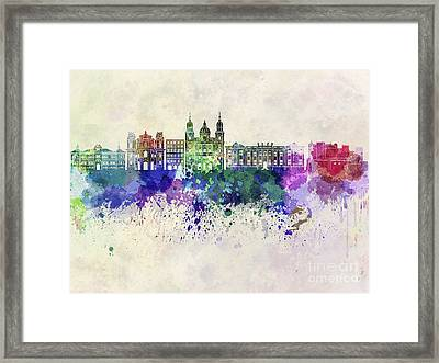 Salzburg Skyline In Watercolor Background Framed Print