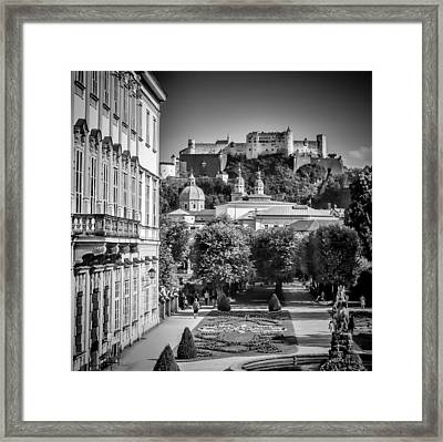 Salzburg Wonderful View To Salzburg Fortress Monochrome Framed Print